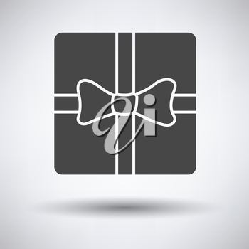 Gift box with ribbon icon on gray background, round shadow. Vector illustration.