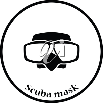 Icon of scuba mask . Thin circle design. Vector illustration.