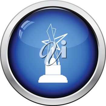 Cinema award icon. Glossy button design. Vector illustration.