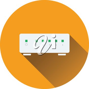Ethernet switch icon. Flat color design. Vector illustration.