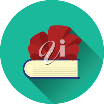 Book with ribbon bow icon. Flat color design. Vector illustration.