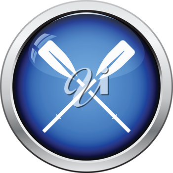 Icon of  boat oars. Glossy button design. Vector illustration.