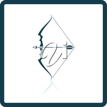 Bow with arrow icon. Shadow reflection design. Vector illustration.