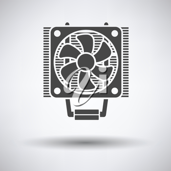 CPU Fan icon on gray background, round shadow. Vector illustration.