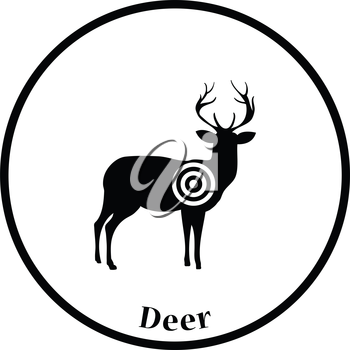 Deer silhouette with target  icon. Thin circle design. Vector illustration.