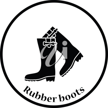 Hunter's rubber boots icon. Thin circle design. Vector illustration.