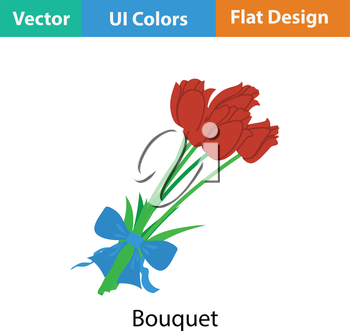Tulips bouquet icon with tied bow. Flat color design. Vector illustration.