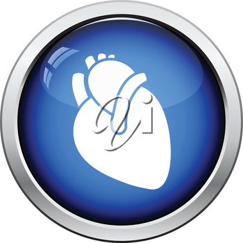 Human heart icon. Glossy button design. Vector illustration.