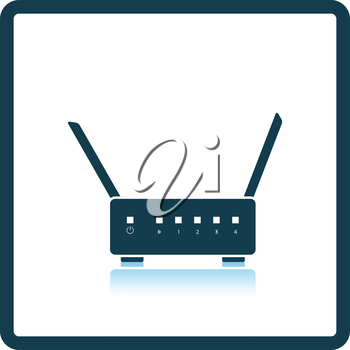 Wi-Fi router icon. Shadow reflection design. Vector illustration.