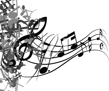 Black and white musical design from music staff elements with treble clef and notes. Isolated on white. Vector illustration.