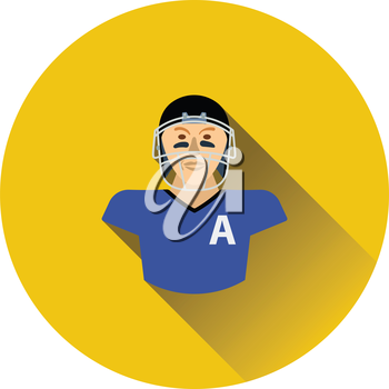 American football player icon. Flat color design. Vector illustration.