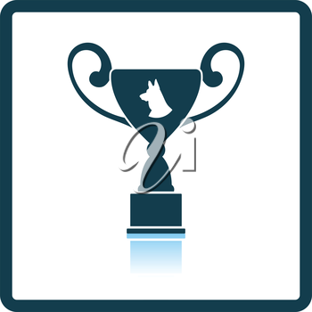 Dog prize cup icon. Shadow reflection design. Vector illustration.