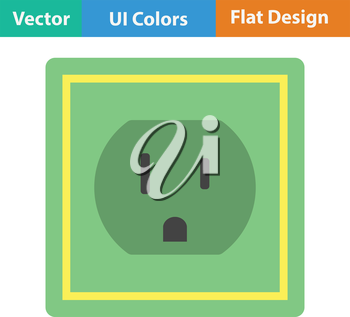 Electric outlet icon. Flat color design.  Vector illustration.