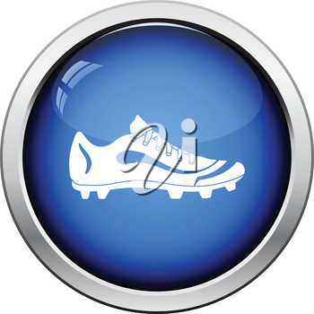 American football boot icon. Glossy button design. Vector illustration.
