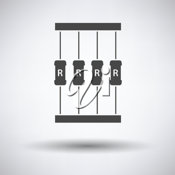 Resistor tape icon on gray background with round shadow. Vector illustration.