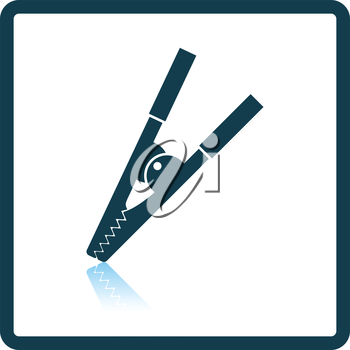 Crocodile clip icon. Shadow reflection design. Vector illustration.