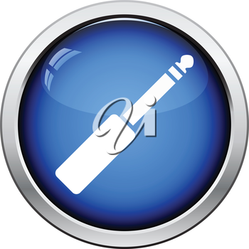 Music jack plug-in icon. Glossy button design. Vector illustration.