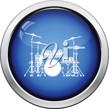 Drum set icon. Glossy button design. Vector illustration.
