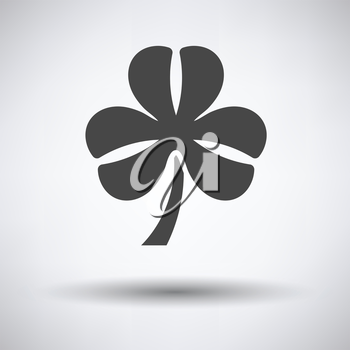 Shamrock icon on gray background with round shadow. Vector illustration.