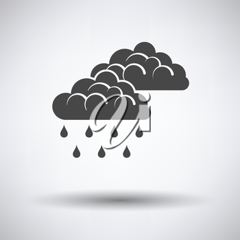 Rain icon on gray background with round shadow. Vector illustration.