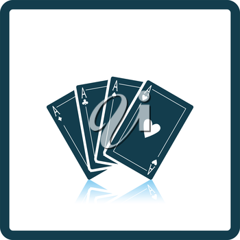Set of four card icons. Shadow reflection design. Vector illustration.