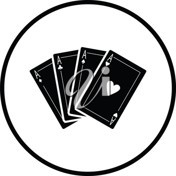 Set of four card icons. Thin circle design. Vector illustration.