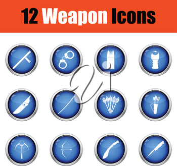 Set of twelve weapon icons.  Glossy button design. Vector illustration.