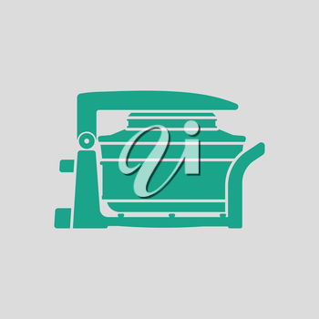 Electric convection oven icon. Gray background with green. Vector illustration.