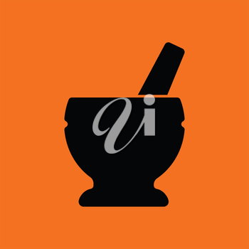 Mortar and pestle icon. Orange background with black. Vector illustration.