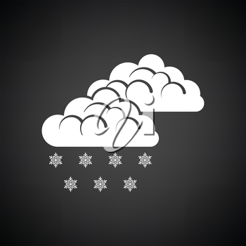 Snow icon. Black background with white. Vector illustration.