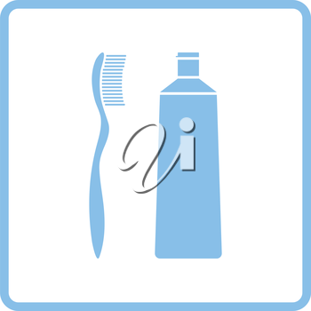 Toothpaste and brush icon. Blue frame design. Vector illustration.