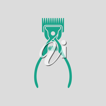 Pet cutting machine icon. Gray background with green. Vector illustration.