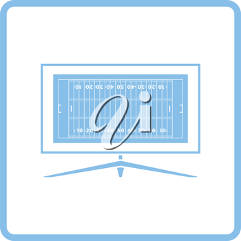 American football tv icon. Blue frame design. Vector illustration.