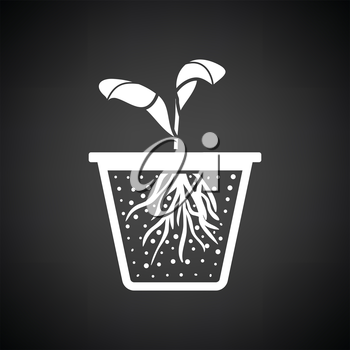 Seedling icon. Black background with white. Vector illustration.