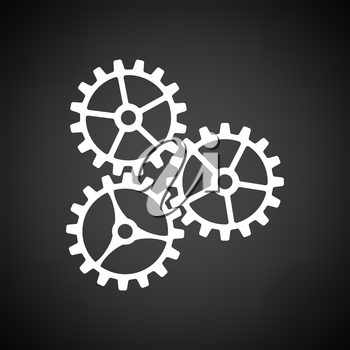 Gear icon. Black background with white. Vector illustration.