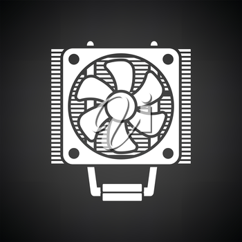 CPU Fan icon. Black background with white. Vector illustration.