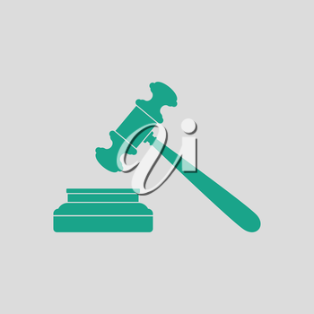 Judge hammer icon. Gray background with green. Vector illustration.
