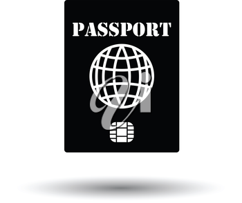 Passport with chip icon. White background with shadow design. Vector illustration.