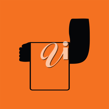 Waiter hand with towel icon. Orange background with black. Vector illustration.