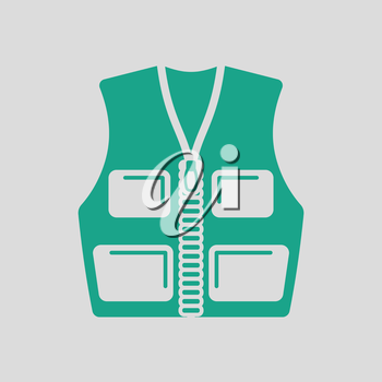 Hunter vest icon. Gray background with green. Vector illustration.