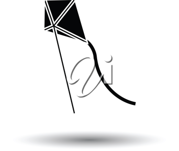 Kite in sky icon. White background with shadow design. Vector illustration.