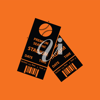 Baseball tickets icon. Orange background with black. Vector illustration.