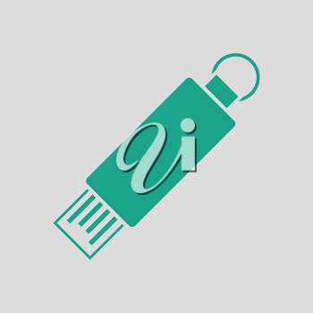 USB flash icon. Gray background with green. Vector illustration.