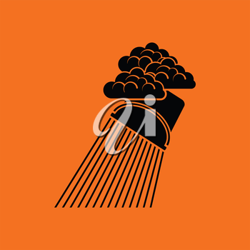 Rainfall like from bucket icon. Orange background with black. Vector illustration.
