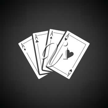 Set of four card icons. Black background with white. Vector illustration.