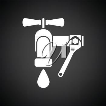 Icon of wrench and faucet. Black background with white. Vector illustration.