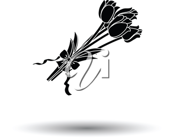 Tulips bouquet icon with tied bow. White background with shadow design. Vector illustration.
