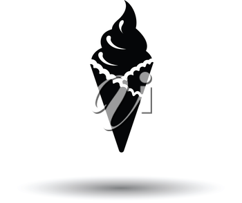 Ice cream icon. White background with shadow design. Vector illustration.