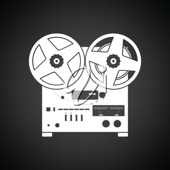 Reel tape recorder icon. Black background with white. Vector illustration.