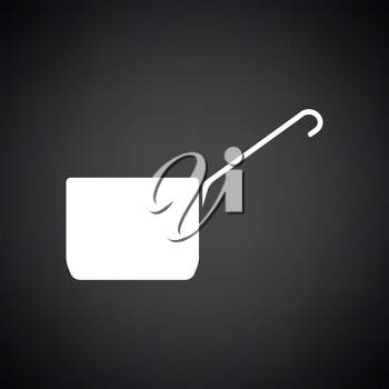 Kitchen pan icon. Black background with white. Vector illustration.